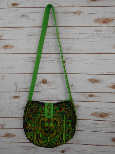 CB-003 GREEN BIRD HILL TRIBE CROSSBODY BAG