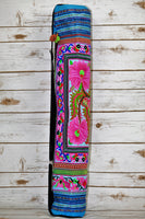 YB-001 BLUE FLOWER HMONG EMBROIDERED TRIBAL YOGA MAT BAG