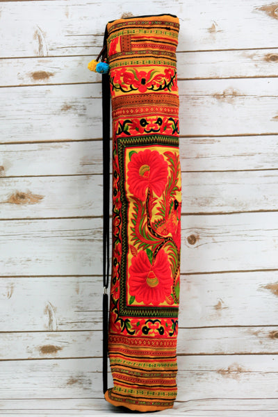 YB-002 YELLOW FLOWER HMONG EMBROIDERED TRIBAL YOGA MAT BAG