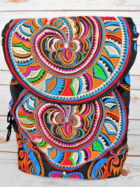 PC-006 HANDMADE BACKPACK WITH HMONG EMBROIDERED