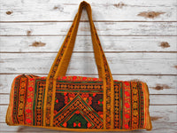 TB-001 ORANGE DIAMOND EMBROIDERY HANDCRAFTED TRAVELING BAG