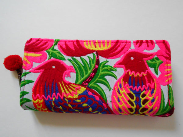 W-004 SAFARI BIRD HMONG EMBROIDERED WALLET