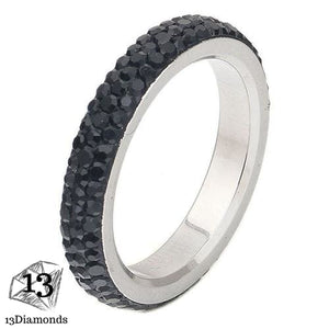 3 Row Crystal Ring 5.5 / Black Rings