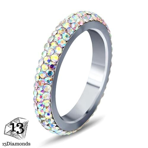 3 Row Crystal Ring 5.5 / Multicolours Rings
