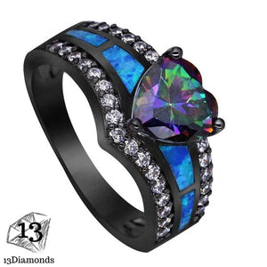 Black Opal Heart Ring 11 / Sea Blue Rings