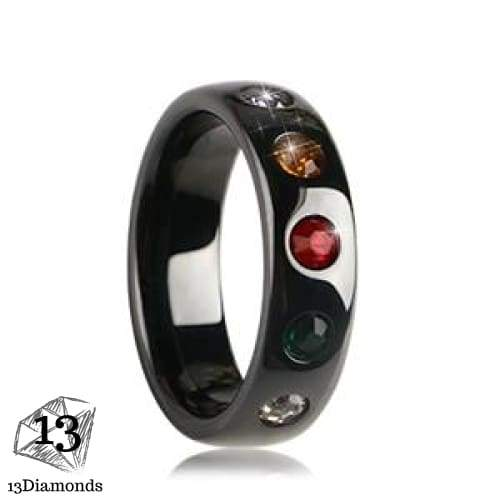 Chakra Ceramic Ring 6 / Black Rings Rings