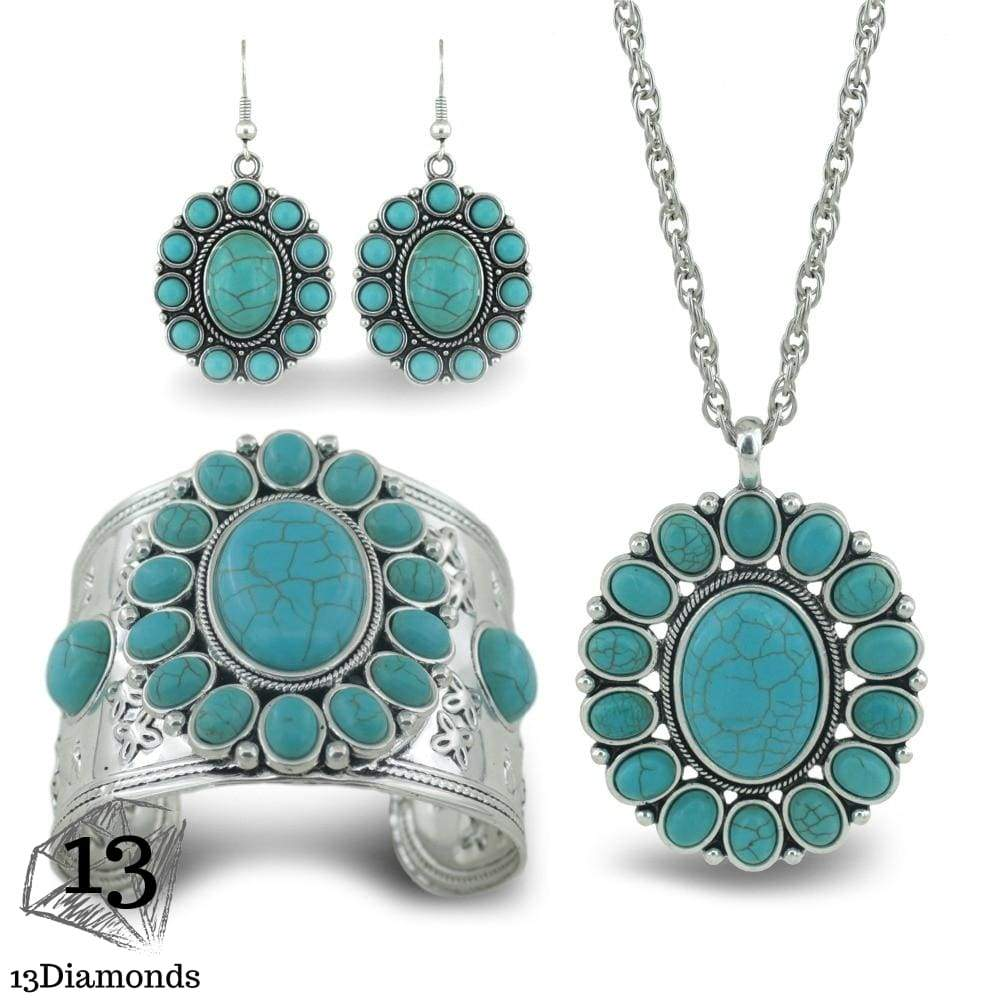 2018 new bohemian style fashion statement punk gypsy necklace imitation stone pine stone jewelry Set decorations, Sets