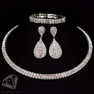 Classic Crystal Necklace Earrings & Bracelet Set 2 layer Sets