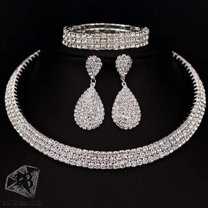 Classic Crystal Necklace Earrings & Bracelet Set 3 layer Sets