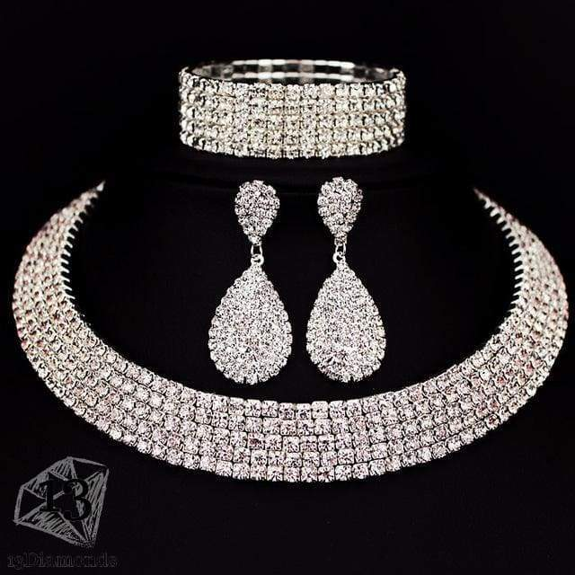 Classic Crystal Necklace Earrings & Bracelet Set 5 layer Sets