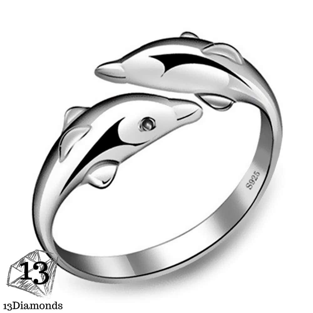 Double Dolphins Silver Ring Rings
