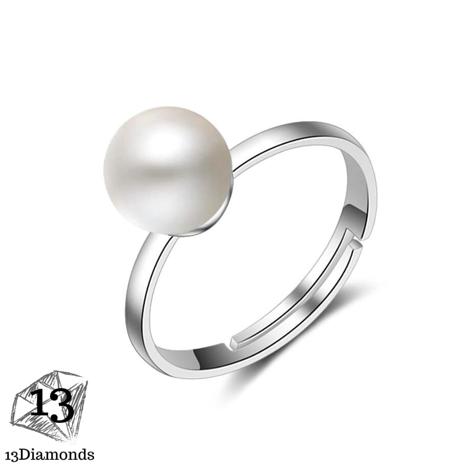 Korean version of the pearl ring for female models Fashion simple 925 sterling silver ring jewelry Adjustable opening ring