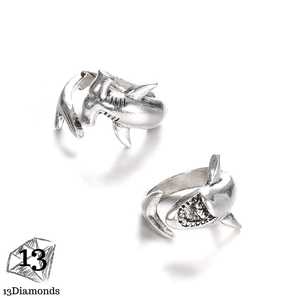 8Seasons New Creative Animals Shark Rings For Women Silver Color Fashion Adjustable Opening Metal Ring Punk Style Party Jewelry