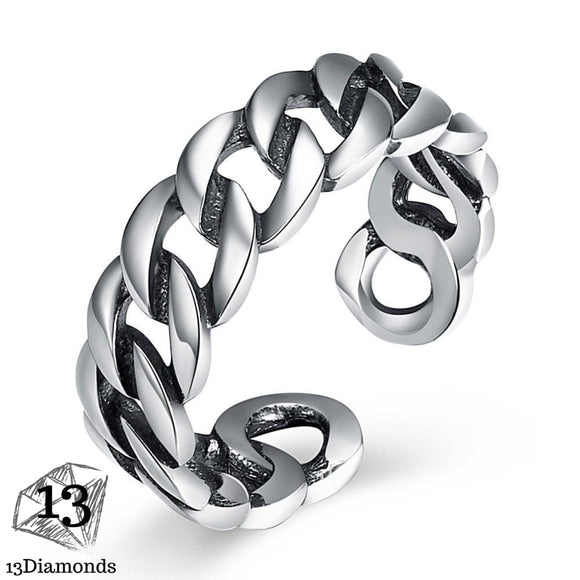 Silver Chain Open Ring Rings