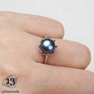 Natural Pearl Crown Ring Resizable / Blue Rings