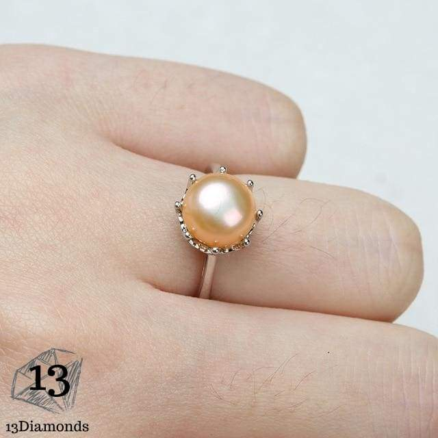Natural Pearl Crown Ring Resizable / Pink Rings