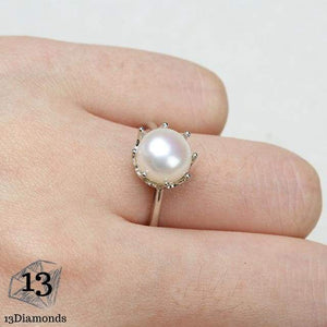 Natural Pearl Crown Ring Resizable / White Rings