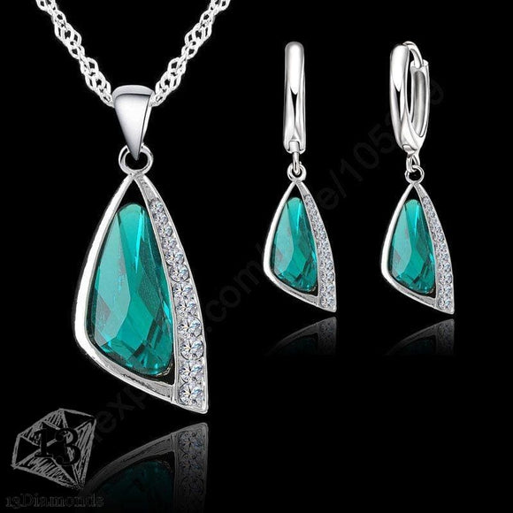 Silver Crystal Earrings Necklace Set Sets