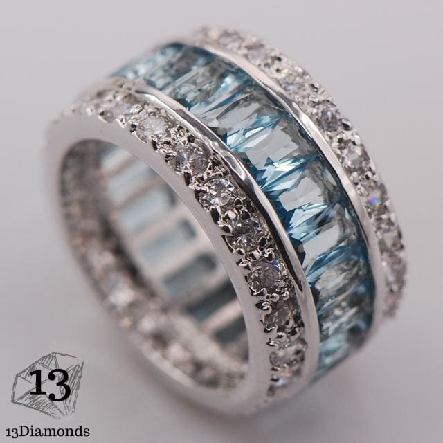 Silver Gorgeous Ring 10 / Aqua Rings