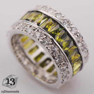Silver Gorgeous Ring 10 / Green Olive Rings