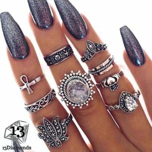 Vintage Set of Rings 6001-silver Rings