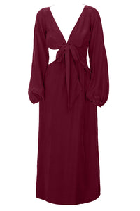 Nuwa Dress - Burgundy/Print/White/Black