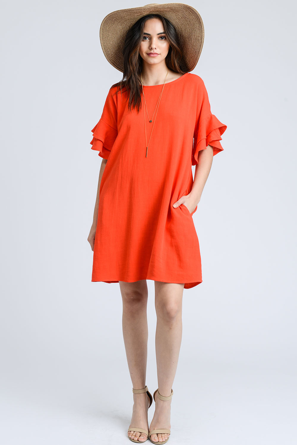 7c5cb79df8b LINEN RUFFLED SLEEVE SHIFT DRESS WITH POCKET-TOMATO – Cherry On Boutique