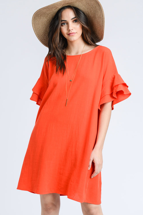 LINEN RUFFLED SLEEVE SHIFT DRESS WITH POCKET-TOMATO