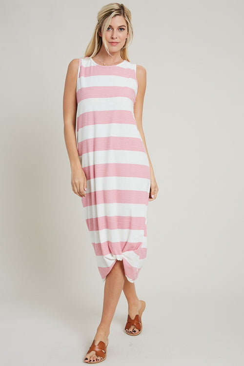 Twisted Hem Stripe Maxi Dress-PINK