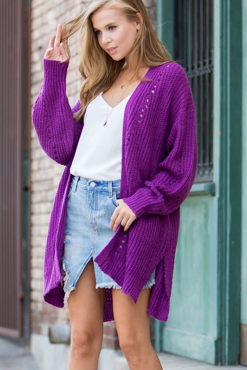 Comfy pointelle sweater cardigan-orchid