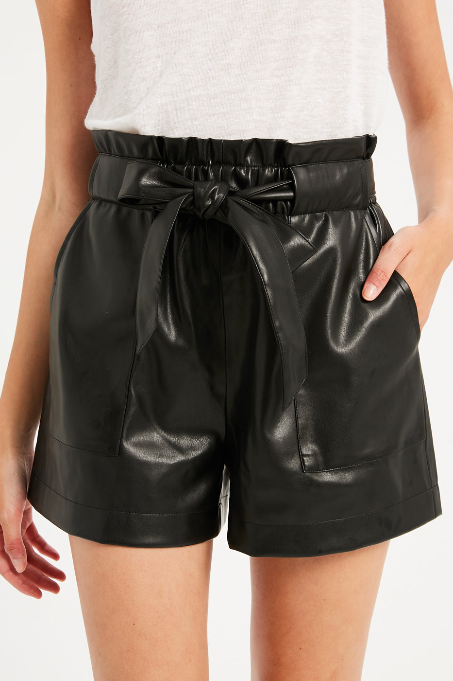 PAPERBAG VEGAN LEATHER SHORTS