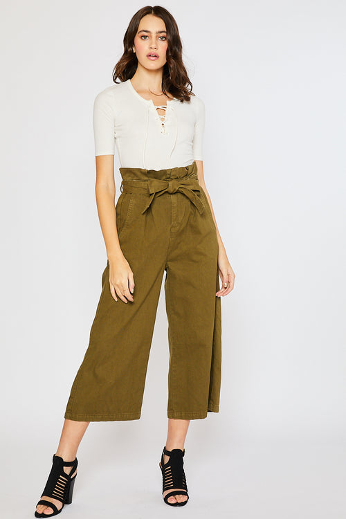 CHUNKY COTTON BELTED PAPERBAG CULOTTES-ARMY GREEN