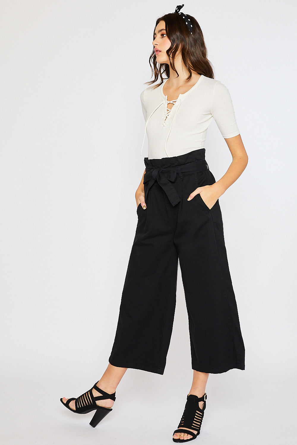 Copy of CHUNKY COTTON BELTED PAPERBAG CULOTTES-BLACK