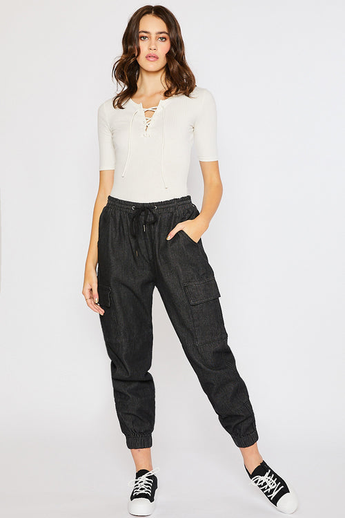 Drawstring Cargo Jogger Pants - Washed Black