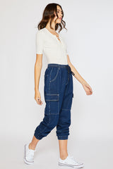 Drawstring Cargo Jogger Pants - Dark Denim