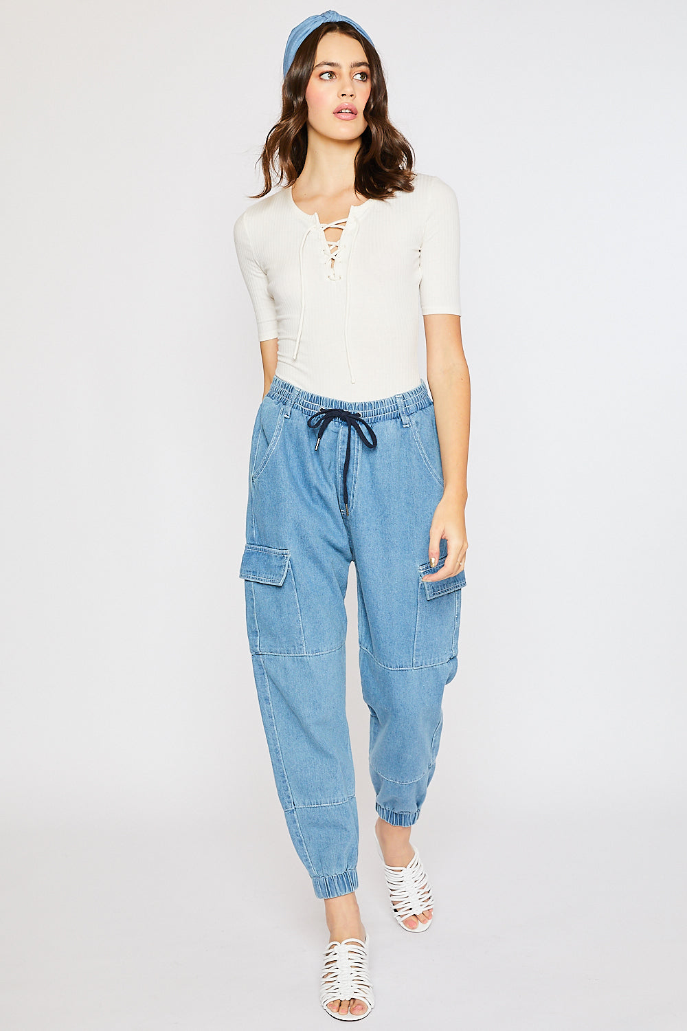 Drawstring Cargo Jogger Pants - Light Denim