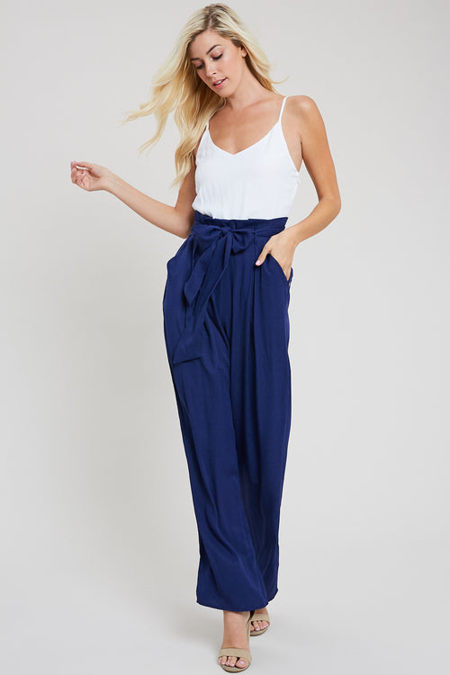 Paper Bag High Waist Jumpsuit-INDIGO