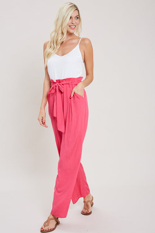 Paper Bag High Waist Jumpsuit-STRAWBERRY