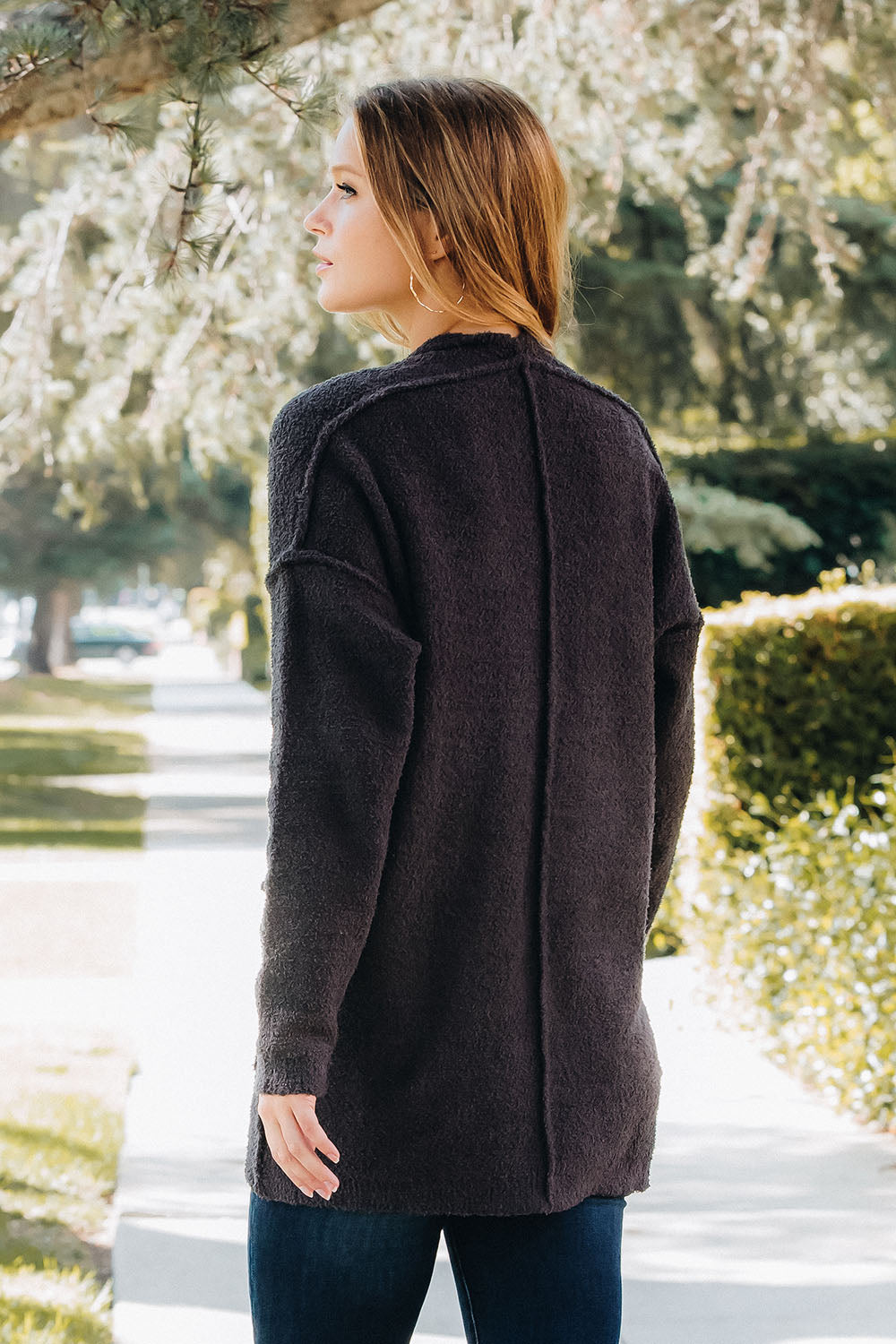 Soft Knit Reverse Seam Comfy Cardigan - Charcoal
