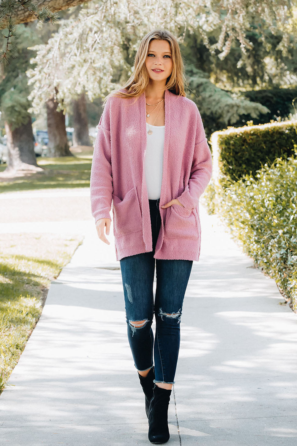 Soft Knit Reverse Seam Comfy Cardigan - Dusty Pink