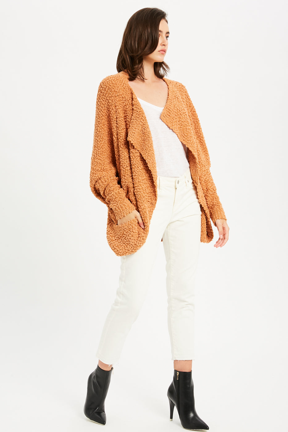 Boucle Comfy Cocoon Cardigan - Camel