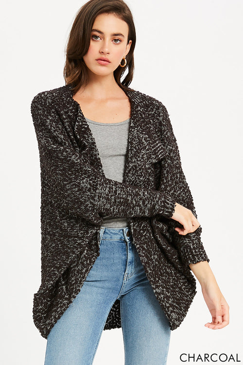 Boucle Comfy Cocoon Cardigan - Charcoal