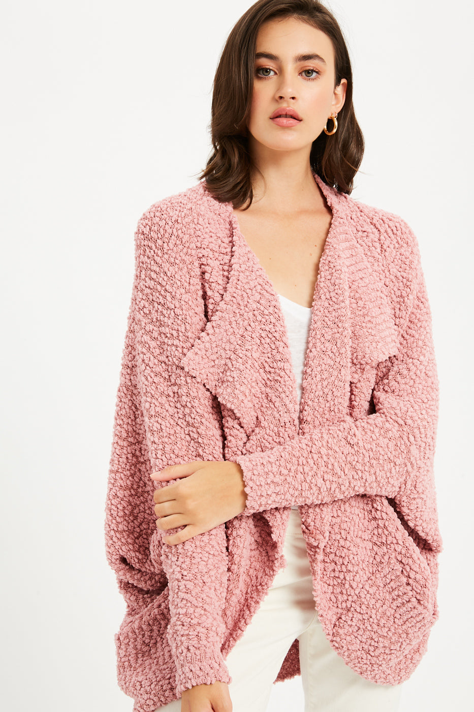 Boucle Comfy Cocoon Cardigan - Dusty Pink