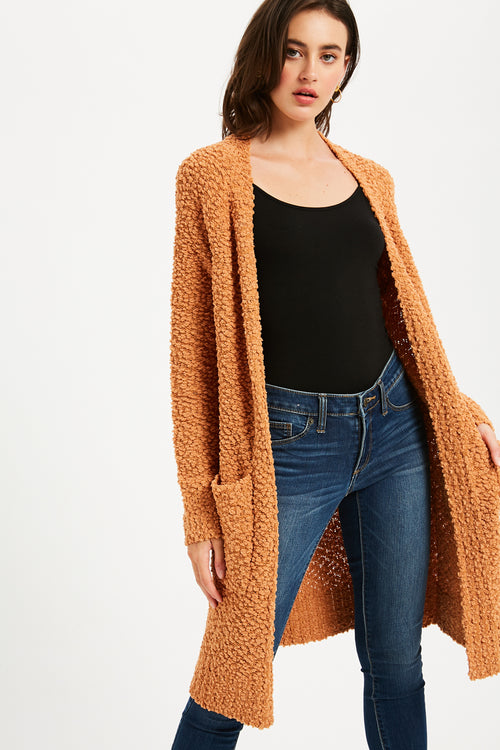 Boucle Comfy Open Front Cardigan - Camel