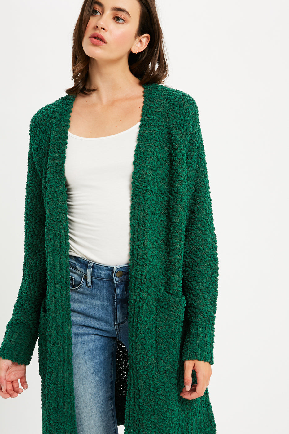 Boucle Comfy Open Front Cardigan - Dark Green