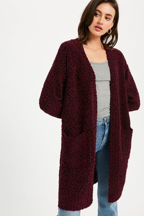 Boucle Comfy Open Front Cardigan - Wine/Black