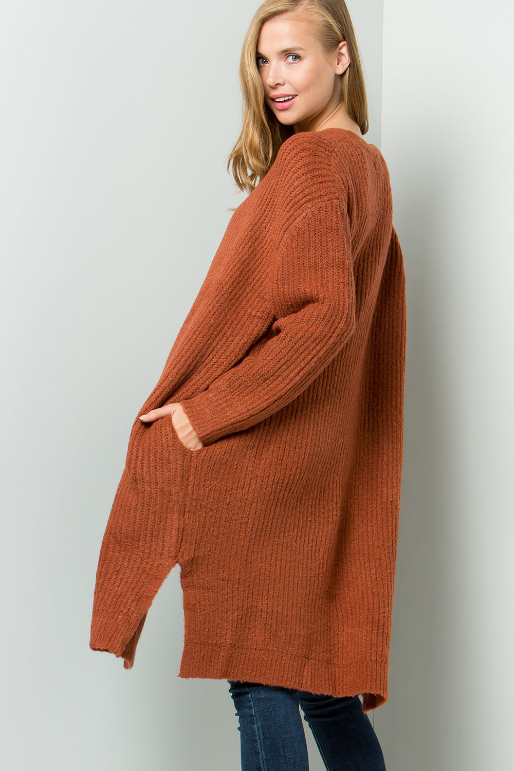 Oversized chunky mohair long cardigan-spice