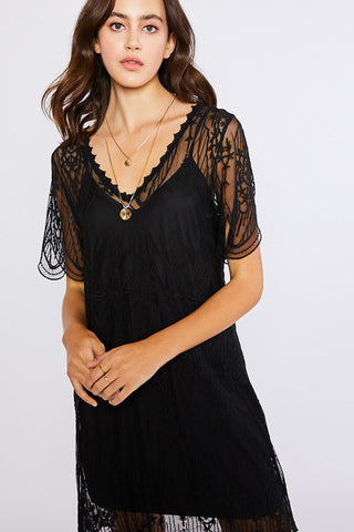V-Neck Embroidered Shift Dress - Ecru