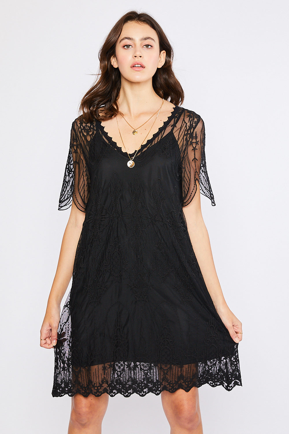 V-Neck Embroidered Shift Dress - Black