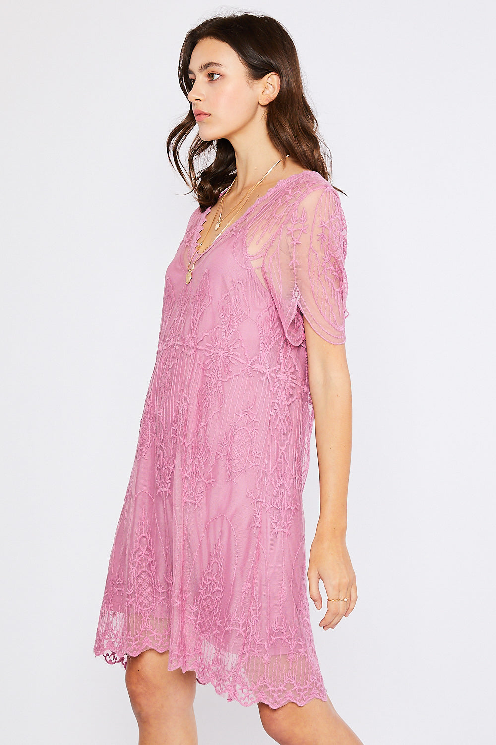 V-Neck Embroidered Shift Dress - Mauve